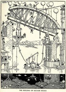 Drawing of Saltash Bridge by Heath Robinson.