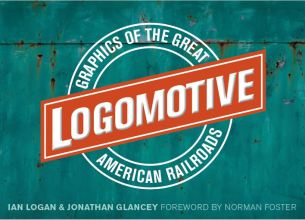 The title Logomotive is made up in a ball-and-bar motif designed to look as if painted on a rusty green boxcar.