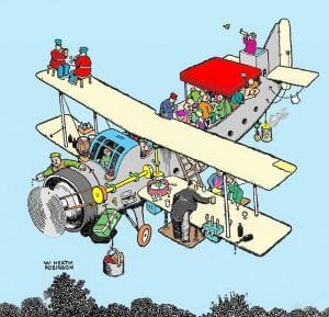 Coloured print of the Holiday Aeroplane in flight.