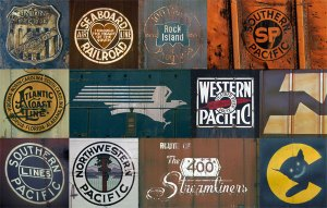 In this colour montage are some of the vintage railroad logos Ian Logan photographed on the sides of trains as he travelled across the United States of America in the 1960s and 1970s.