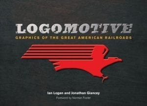 In the centre of a black cover the speed-lined eagle of the Missouri Pacific Railroad is picked out in red beneath the title Logomotive and the sub-title Graphics of the Great American Railroads.