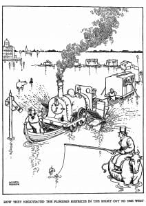 Drawing of floating train by Heath Robinson.