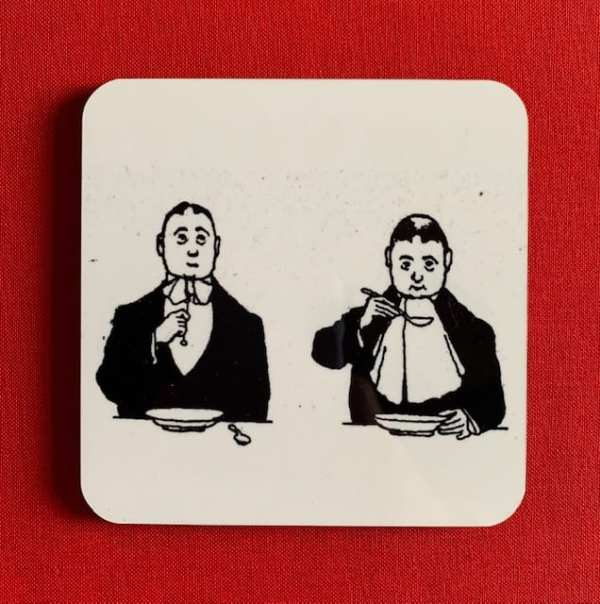 Photograph of a Heath Robinson coaster, illustrated with a black and white line drawing of The Soup Tie.