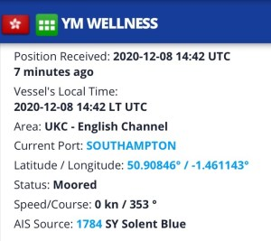 Screenshot of a page in the Marine Traffic website shows our ship has come in and is moored in the Port of Southampton.