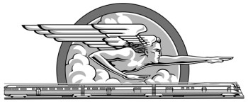 In the final artwork the artist has followed a style mid-way between the two test pieces, adding the train and drawing Zephyrus in a bold, masculine style with extra shading.