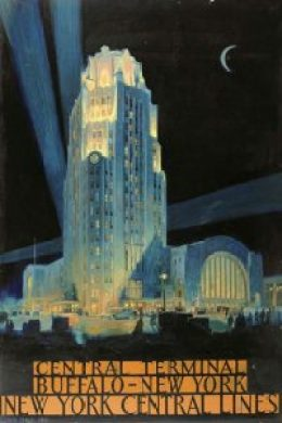 This poster design depicting the dramatically lit Buffalo Central Terminal beneath a night sky with a crescent moon is thought to have been created around 1929 by the artist Louis Conrad Rosenberg. The lettering in orange panels below reads 'Central Terminal Buffalo – New York New York Central Lines'.