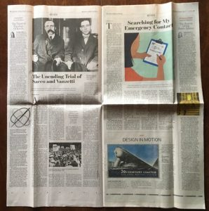 In this colour photograph of the open Wall Street Journal Review, Saturday/Sunday July 10-11, the bottom third of page 5 is filled by Peter Saenger's feature on Logomotive: Railroad Graphics and the American Dream.