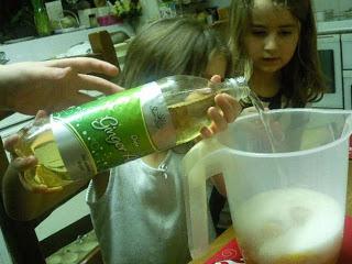 KayCee and Ella making mango peach fizz