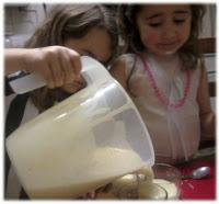 KayCee pouring banana mango shake