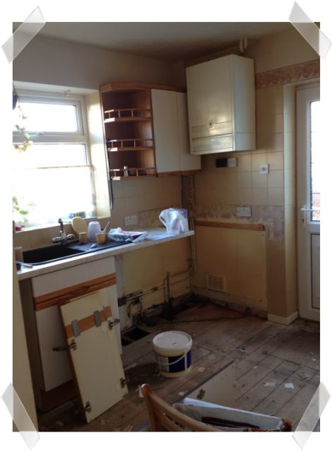 Kitchen woes - our kitchen at the moment - cupboards removed, no flooring and basically very messy!