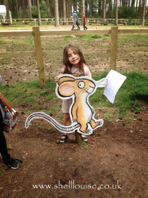 Ella standing with the mouse from the Gruffalo