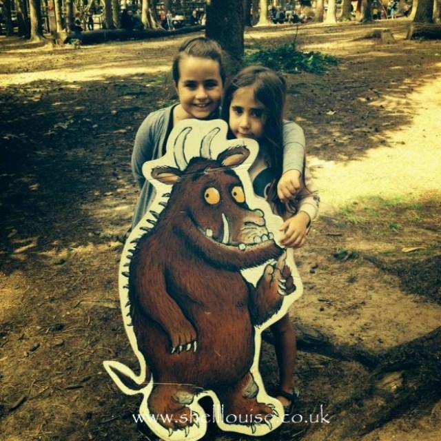 KayCee and Ella with the Gruffalo