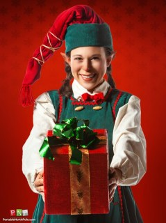 One of Santa's elves holding a present