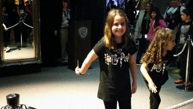 Harry Potter Studio Tour - Kaycee and Ella casting spells