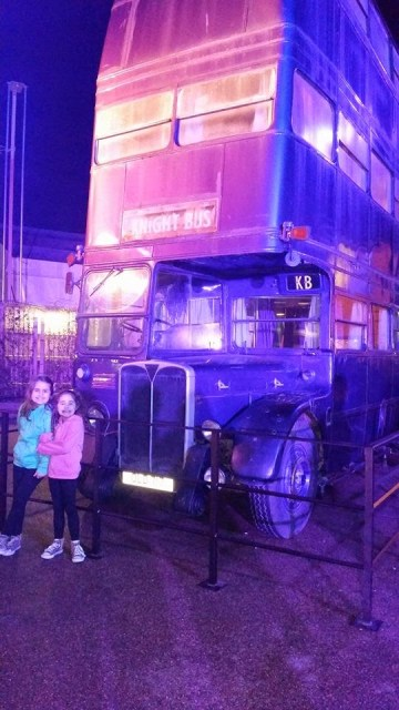 Harry Potter Studio Tour - Kaycee and Ella in front of the night bus