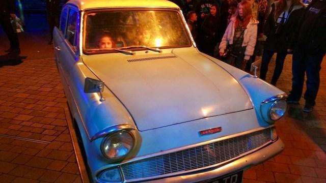 Harry Potter Studio Tour - Ella in the flying car