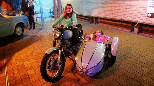 Harry Potter Studio Tour - Kaycee on a motorbike, Ella in the sidecar