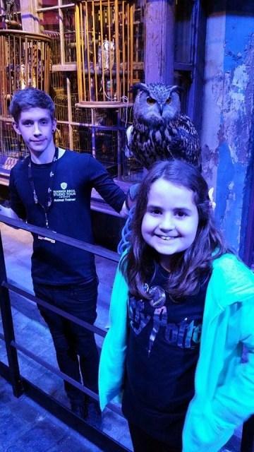 Harry Potter Studio Tour - Kaycee with an owl