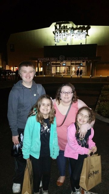 Harry Potter Studio Tour - Kellyann, Aiden, Kaycee and Ella at the end of a long day