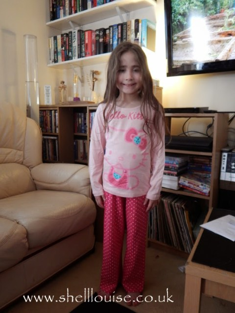Ella wearing Hello Kitty pyjamas from Lamaloli