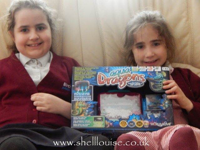 Kaycee and Ella with their Aqua Dragons from Wicked Uncle