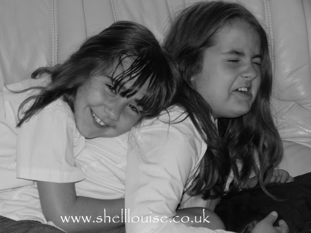 Black and white photo of Kaycee and Ella