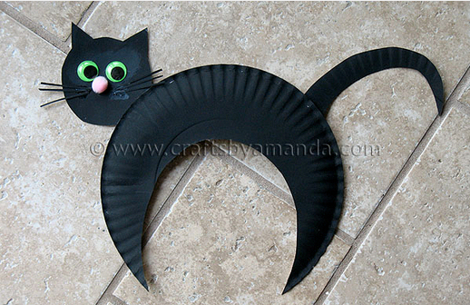 Paper plate cat - Halloween paper crafts