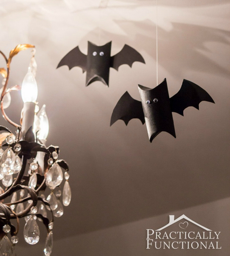 Paper bats made from toilet roll tubes - Halloween paper crafts