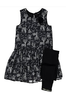 Black dress with reindeer print and black leggings