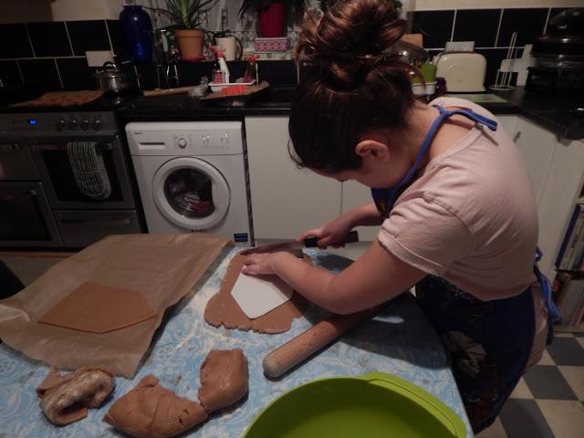 Kaycee cutting the dough