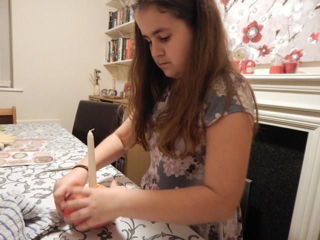 KayCee making a Christingle