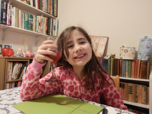 Ella drinking Princes fruit juice