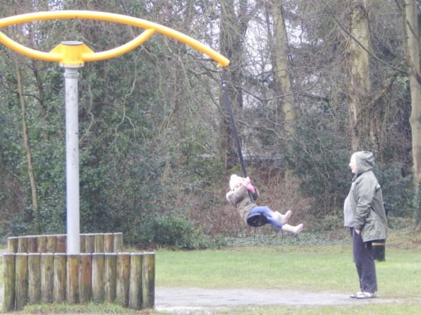 Megan on the swing at Hartsholme park