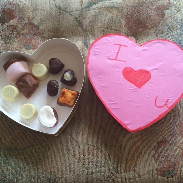 Handmade chocolates in heart shaped box - Mother's Day 2016