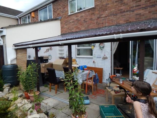 Patio area before - garden tidy