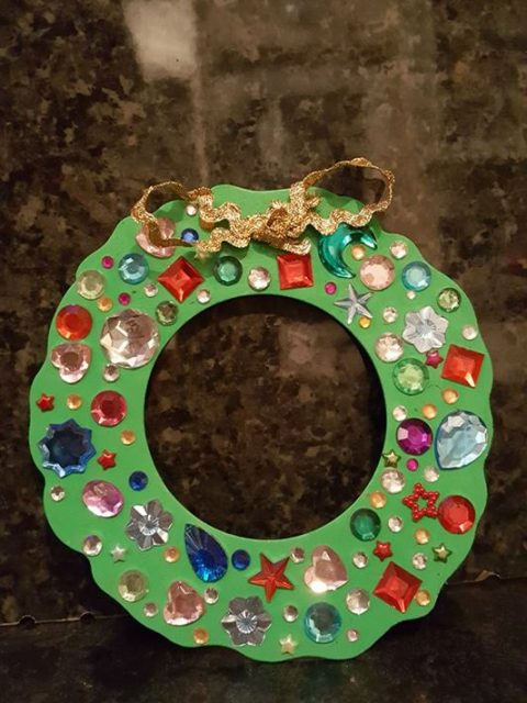 bostik bloggers november craft gem foam Christmas wreath