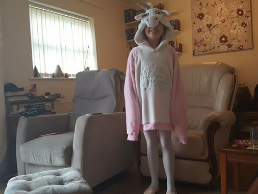Ella dressed as a unicorn for World Book Day