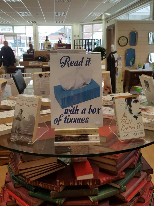 Read it with a box of tissues - Book DIsplay