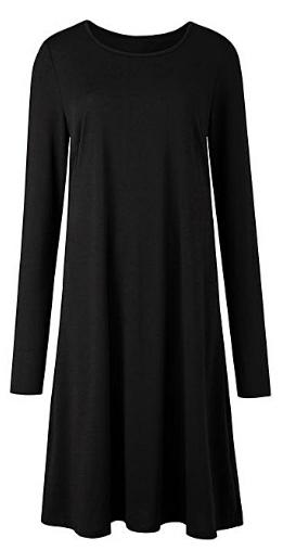 Simply Be plain black swing dress