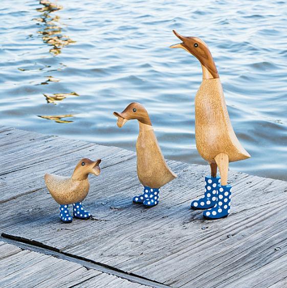 Wooden ducks garden ornaments