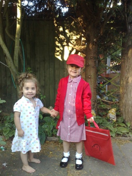 Kaycee and Ella on Kaycee's first day at infants school