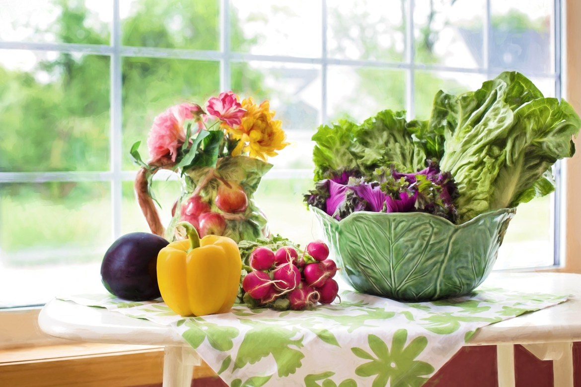 vegetables in a bowl by the window - eat well for success