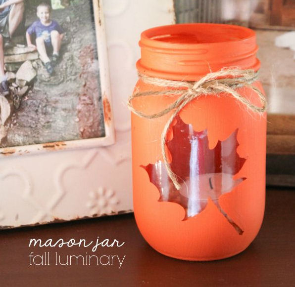 Autumn leaf luminary jar - Autumn crafts