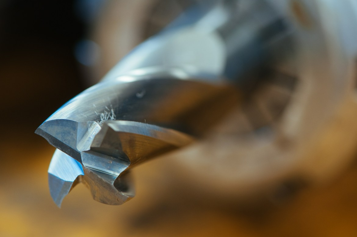 close up of a drill bit