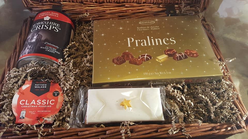 Prestige hampers luxury Christmas hamper including pralines, Christmas cake, Yorkshire crisps and Christmas pudding