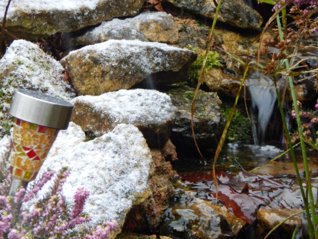 It snowed. Snow on the waterfall I love snow!