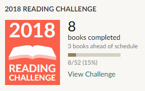 Goodreads reading challenge 2018 8 books read