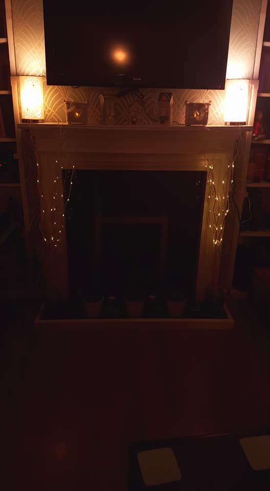 fireplace at night