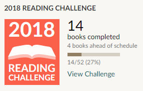Goodreads reading challenge 2018 - 14 books read