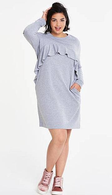 new dress - grey ruffle